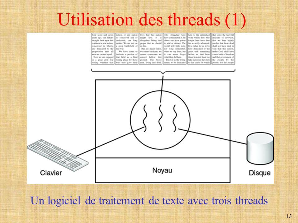 13 Utilisation des threads (1) Un logiciel de traitement de texte avec trois threads