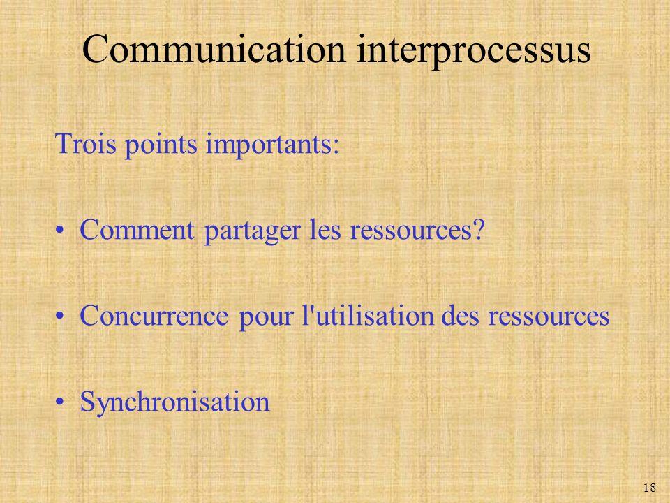 18 Trois points importants: Comment partager les ressources? Concurrence pour l'utilisation des ressources Synchronisation Communication interprocessu