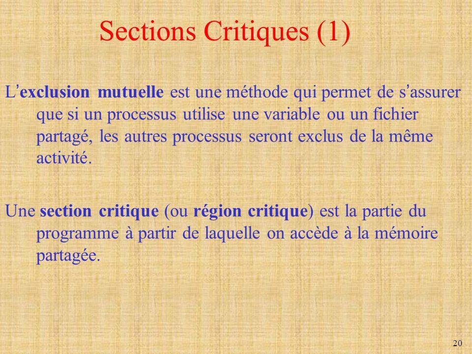 20 Sections Critiques (1) Lexclusion mutuelle est une méthode qui permet de sassurer que si un processus utilise une variable ou un fichier partagé, l