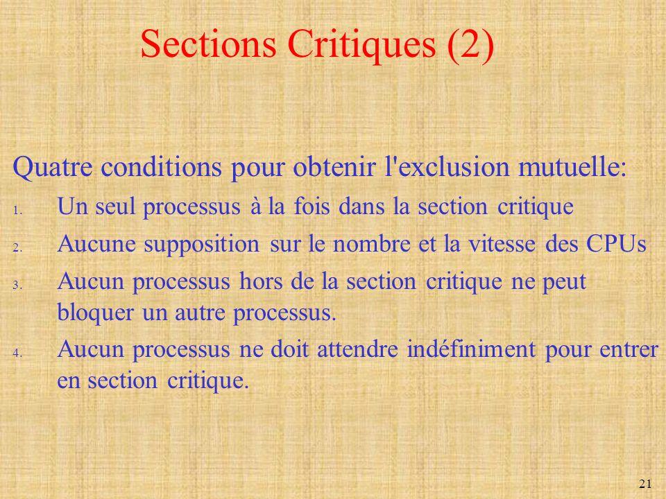 21 Sections Critiques (2) Quatre conditions pour obtenir l'exclusion mutuelle: 1. Un seul processus à la fois dans la section critique 2. Aucune suppo