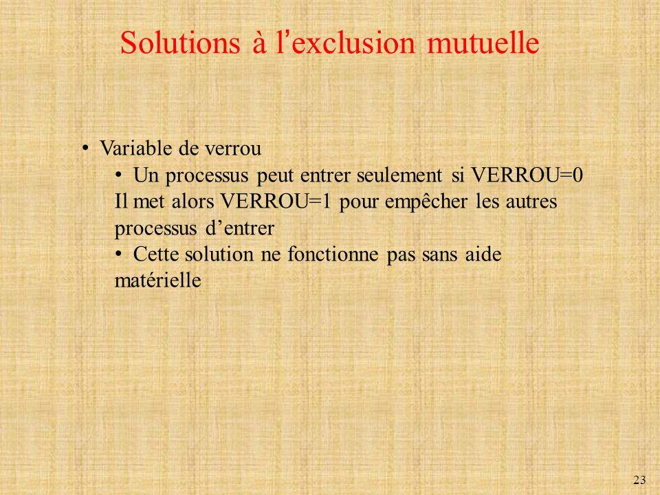 23 Solutions à lexclusion mutuelle Variable de verrou Un processus peut entrer seulement si VERROU=0 Il met alors VERROU=1 pour empêcher les autres pr