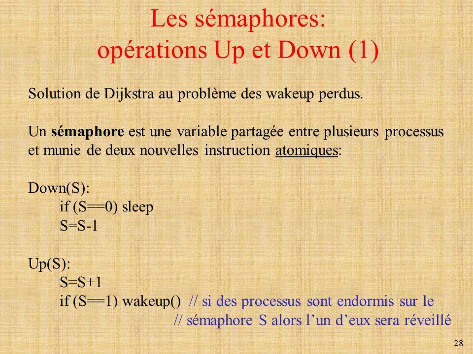 28 Les sémaphores: opérations Up et Down (1) Solution de Dijkstra au problème des wakeup perdus. Un sémaphore est une variable partagée entre plusieur