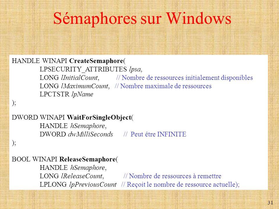 31 Sémaphores sur Windows HANDLE WINAPI CreateSemaphore( LPSECURITY_ATTRIBUTES lpsa, LONG lInitialCount, // Nombre de ressources initialement disponib
