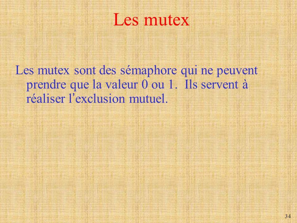 34 Les mutex Les mutex sont des sémaphore qui ne peuvent prendre que la valeur 0 ou 1. Ils servent à réaliser lexclusion mutuel.