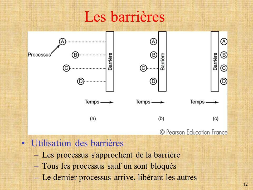 42 Les barrières Utilisation des barrières –Les processus s'approchent de la barrière –Tous les processus sauf un sont bloqués –Le dernier processus a