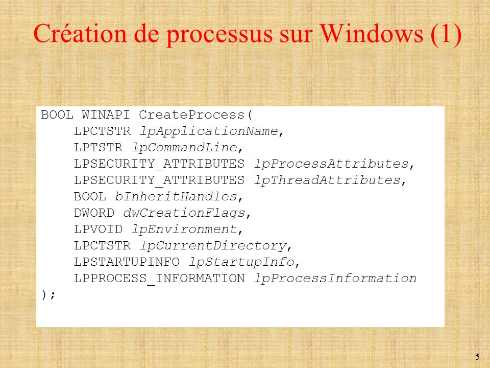 5 Création de processus sur Windows (1) BOOL WINAPI CreateProcess( LPCTSTR lpApplicationName, LPTSTR lpCommandLine, LPSECURITY_ATTRIBUTES lpProcessAtt