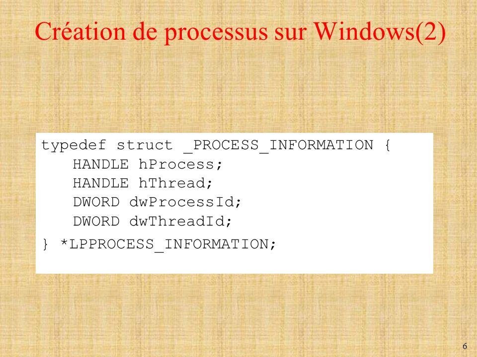 6 Création de processus sur Windows(2) typedef struct _PROCESS_INFORMATION { HANDLE hProcess; HANDLE hThread; DWORD dwProcessId; DWORD dwThreadId; } *