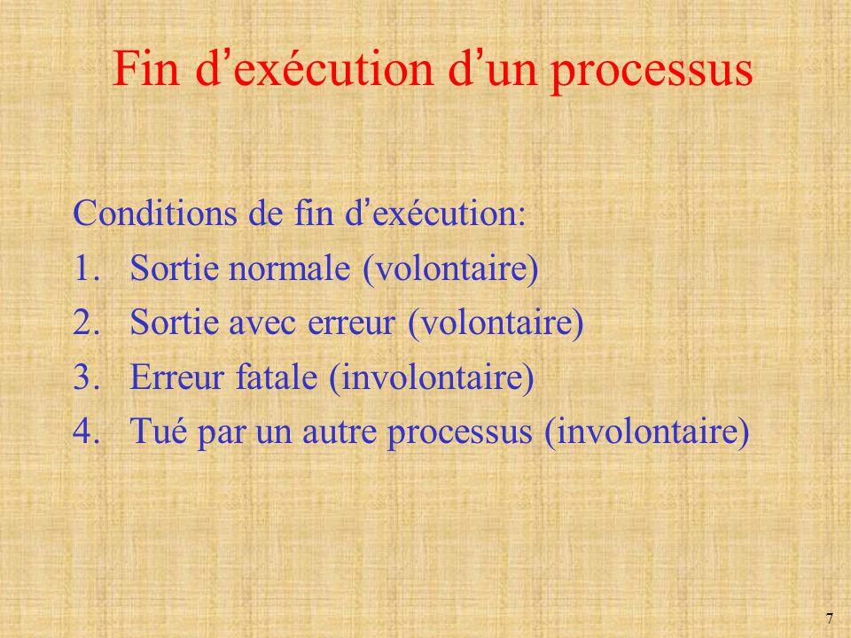 7 Fin dexécution dun processus Conditions de fin dexécution: 1.Sortie normale (volontaire) 2.Sortie avec erreur (volontaire) 3.Erreur fatale (involont
