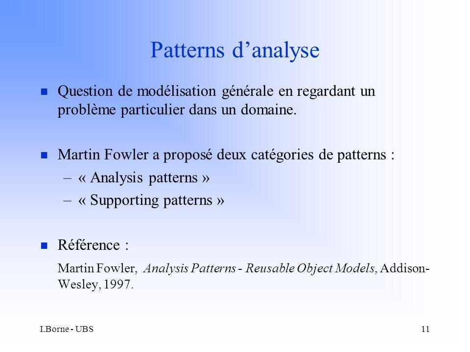 I.Borne - UBS11 Patterns danalyse n Question de modélisation générale en regardant un problème particulier dans un domaine.