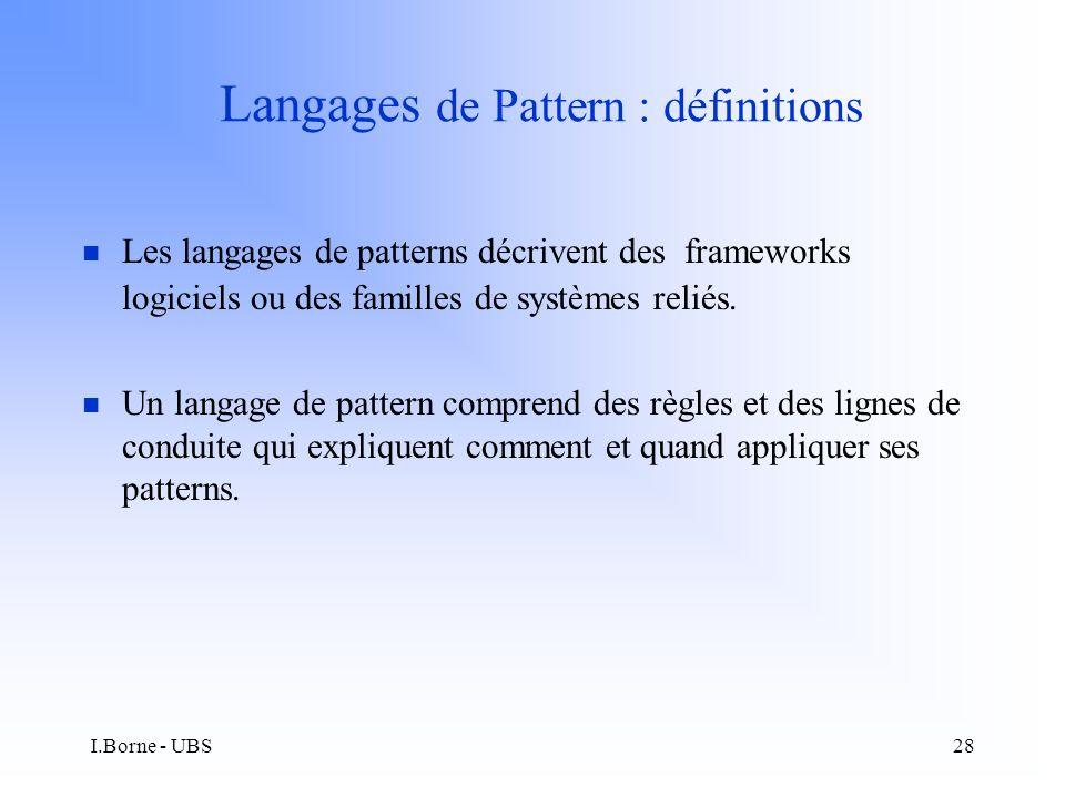 I.Borne - UBS28 Langages de Pattern : définitions n Les langages de patterns décrivent des frameworks logiciels ou des familles de systèmes reliés.