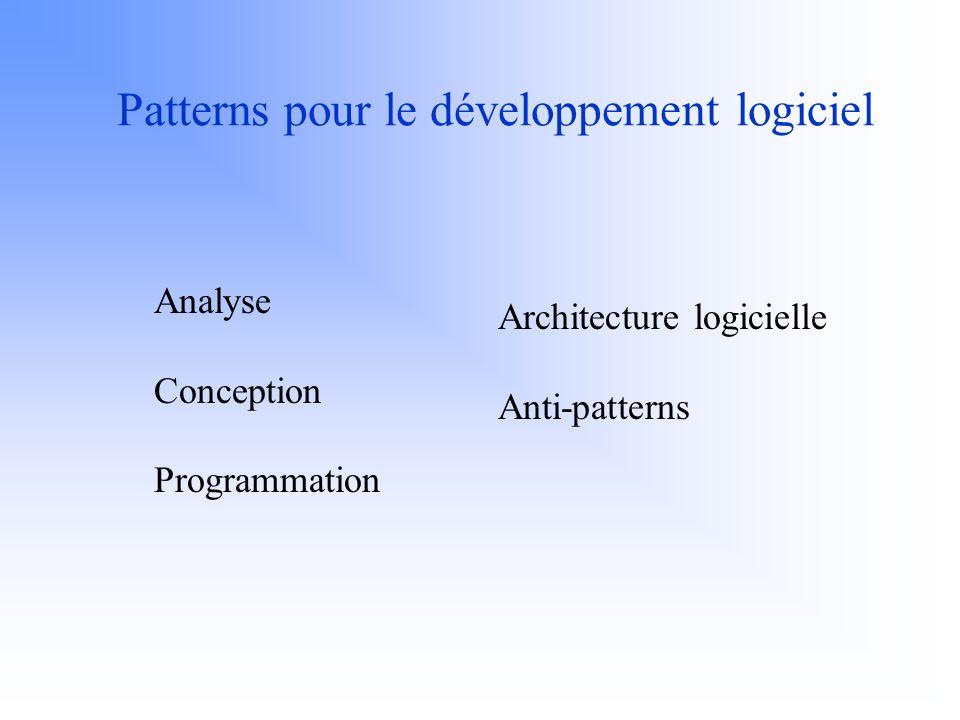 I.Borne - UBS44 critères de classification : 1) catégories de pattern : patterns architecturaux, patterns de conception et idiomes 2) catégories de problème.