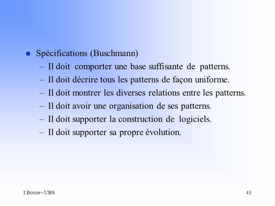 I.Borne - UBS43 n Spécifications (Buschmann) –Il doit comporter une base suffisante de patterns.