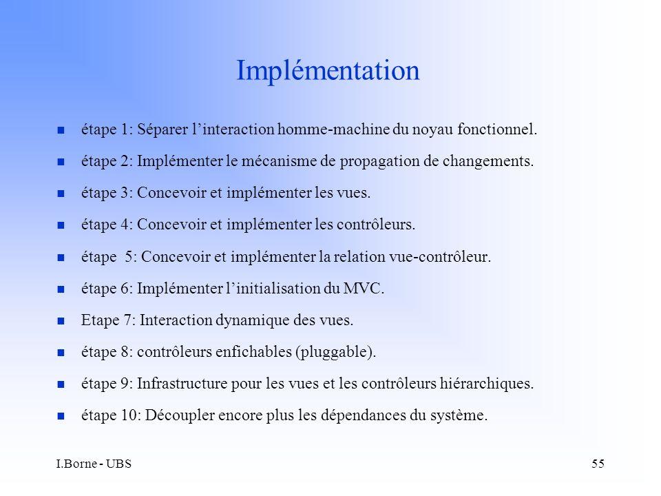 I.Borne - UBS55 Implémentation n étape 1: Séparer linteraction homme-machine du noyau fonctionnel.