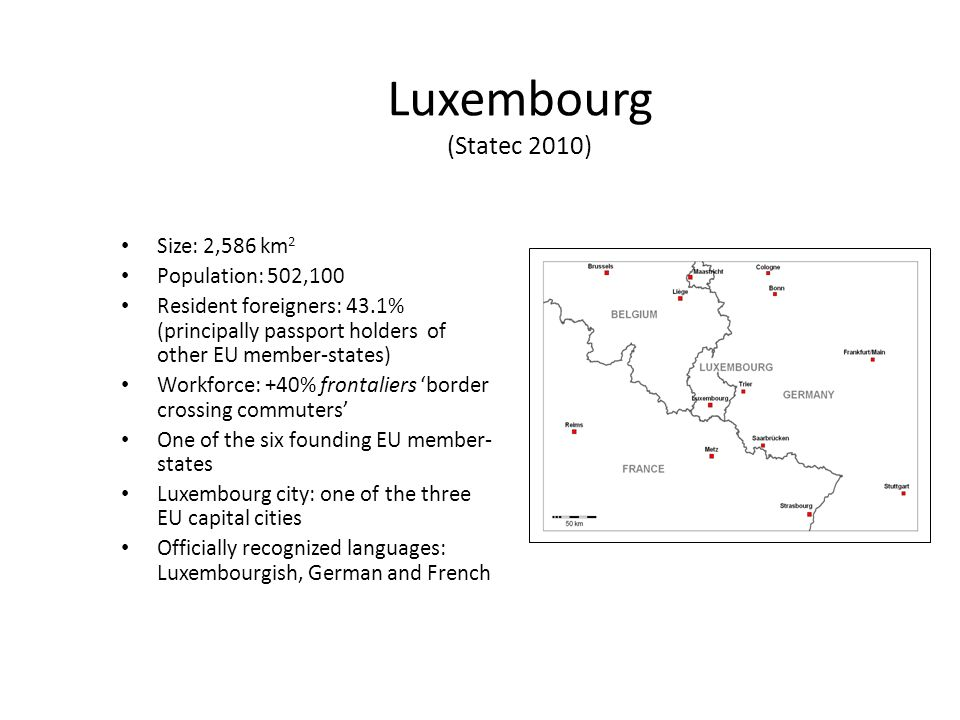 Luxembourg (Statec 2010) Size: 2,586 km 2 Population: 502,100 Resident foreigners: 43.1% (principally passport holders of other EU member-states) Workforce: +40% frontaliers border crossing commuters One of the six founding EU member- states Luxembourg city: one of the three EU capital cities Officially recognized languages: Luxembourgish, German and French
