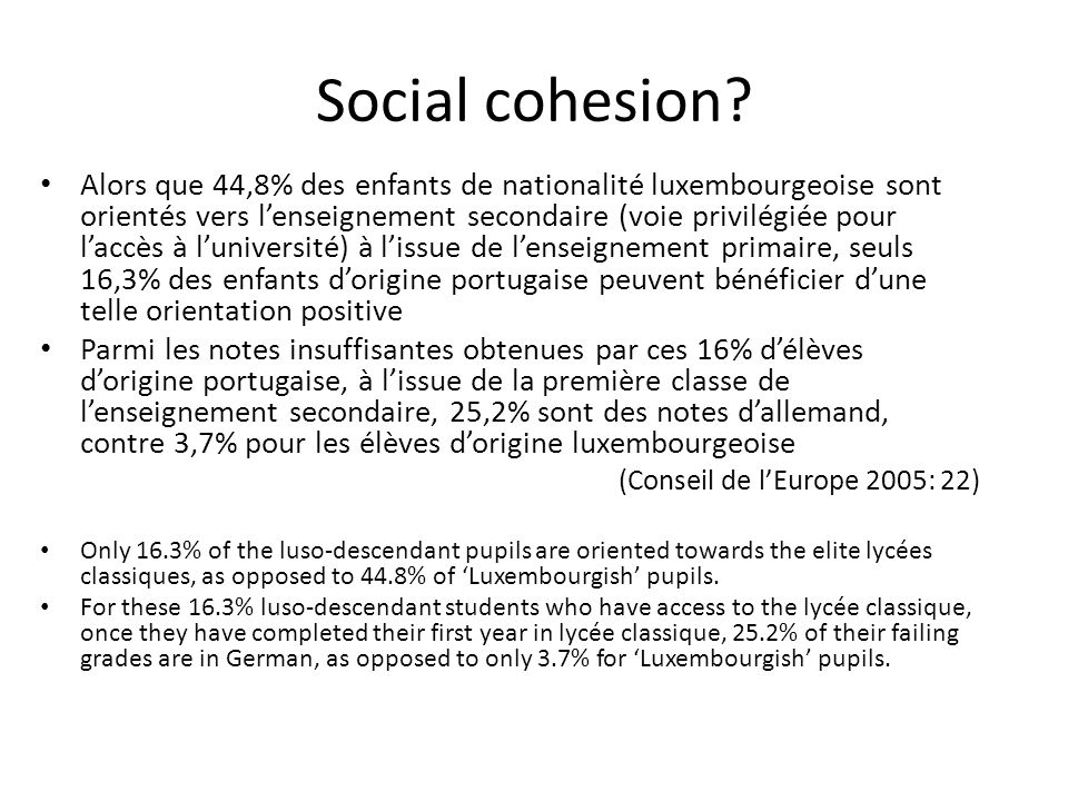 Social cohesion.