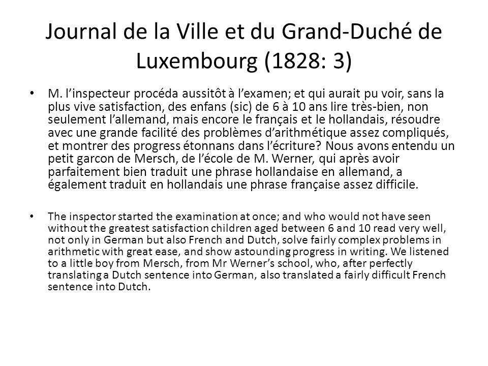 Journal de la Ville et du Grand-Duché de Luxembourg (1828: 3) M.