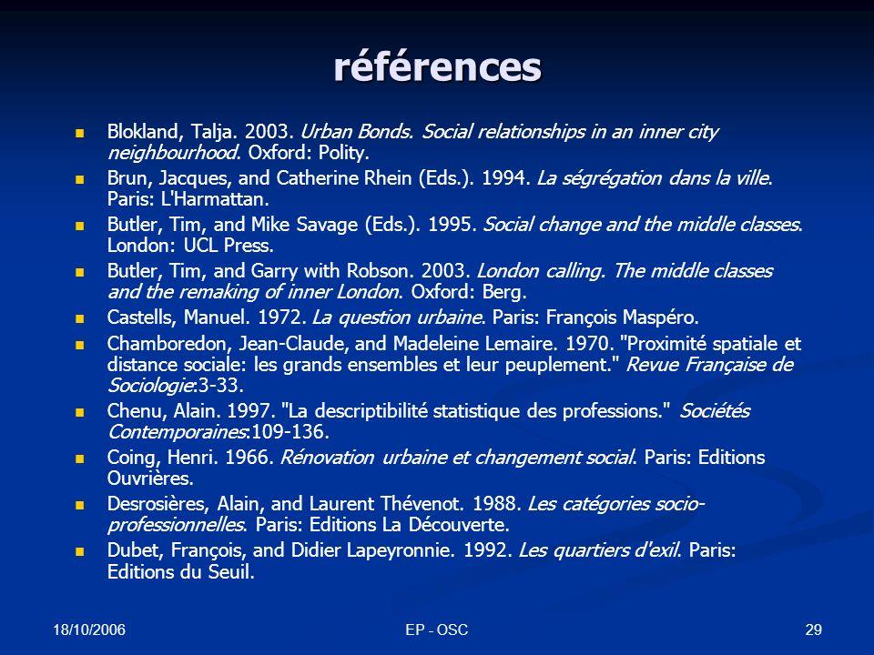18/10/2006 EP - OSC28 publications liées à cette recherche Préteceille, Edmond.