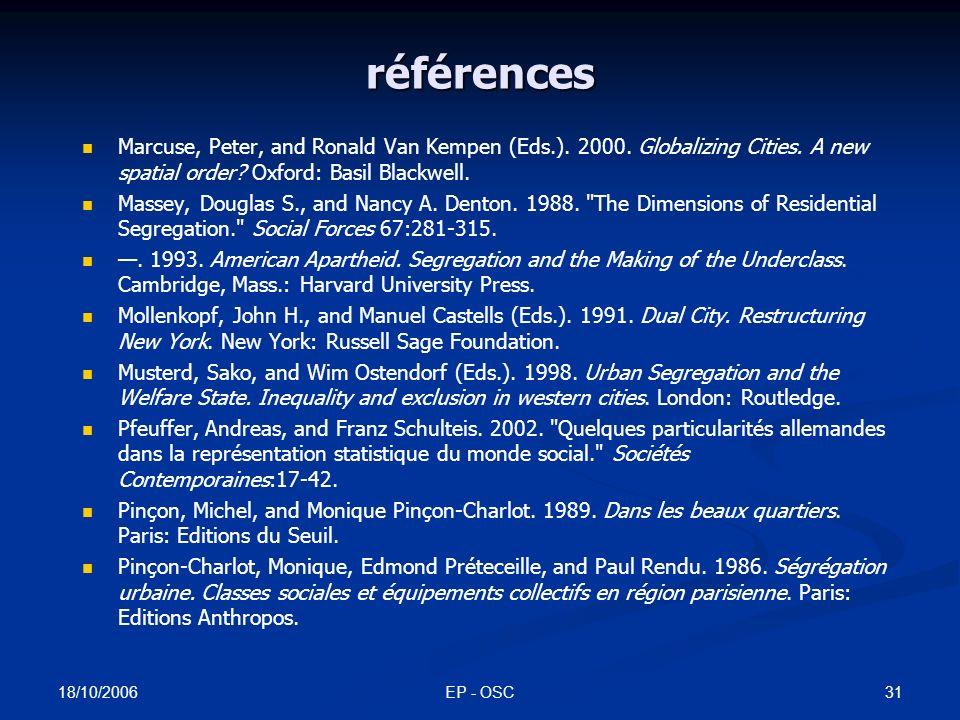 18/10/2006 EP - OSC30 références Duncan, Otis Dudley, and Beverley Duncan.