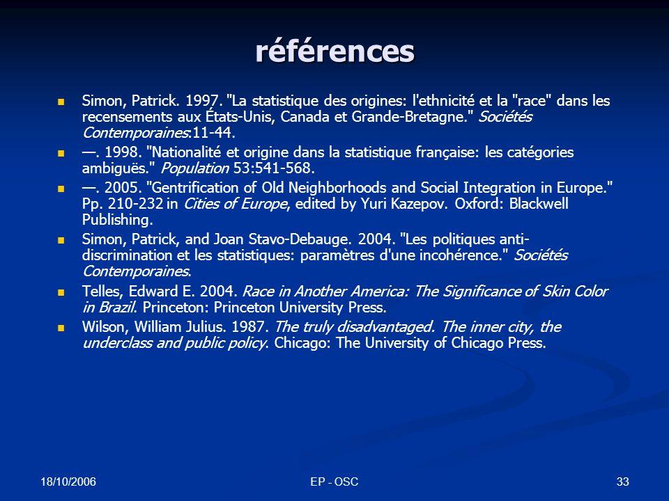18/10/2006 EP - OSC32 références Préteceille, Edmond.