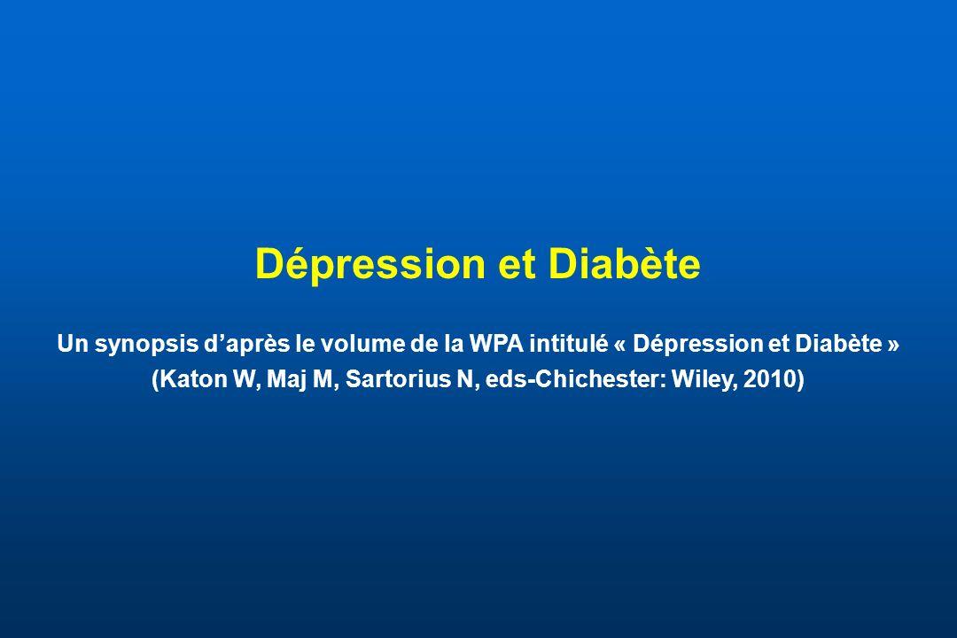 Épidémiologie de la dépression et du diabète Chez les diabétiques, la prévalence de symptômes dépressifs est de 31% et celle de dépression sévère de 11% (Anderson et al, 2001) Les patients dépressifs ont un risque augmenté de 65 % de développer un diabète (Campayo et al, 2010) Le pronostic du diabète et de la dépression (en terme de complications, de résistance au traitement et de mortalité) est moins bon lorsque ces deux pathologies sont comorbides que lorsquelles sont séparées Daprès Lloyd CE et al.