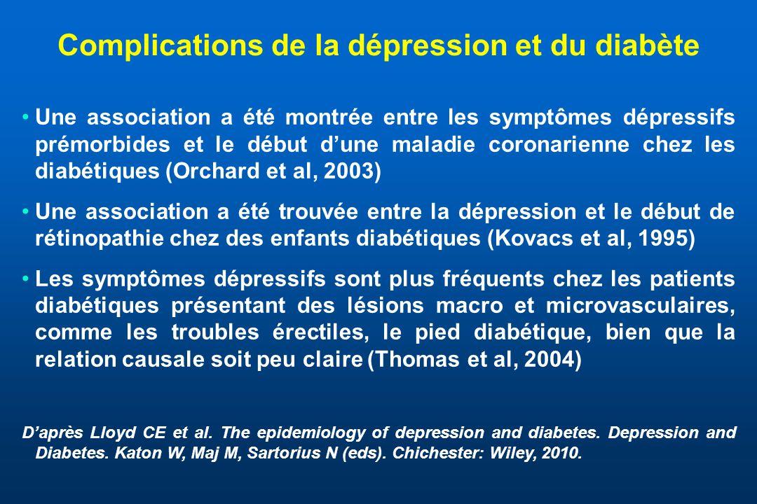 Une forte association est retrouvée entre les symptômes dépressifs (évalués par léchelle de dépression du centre détudes épidémiologiques, CES-D) et une mortalité plus élevée chez les diabétiques, par rapport aux non diabétiques, après ajustement des facteurs sociodémographiques et de mode de vie (Zhang et al., Am.