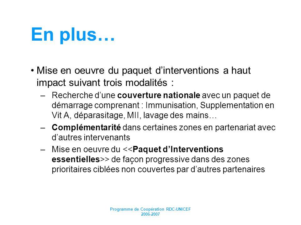 Programme de Coopération RDC-UNICEF 2006-2007 En plus… Mise en oeuvre du paquet dinterventions a haut impact suivant trois modalités : –Recherche dune