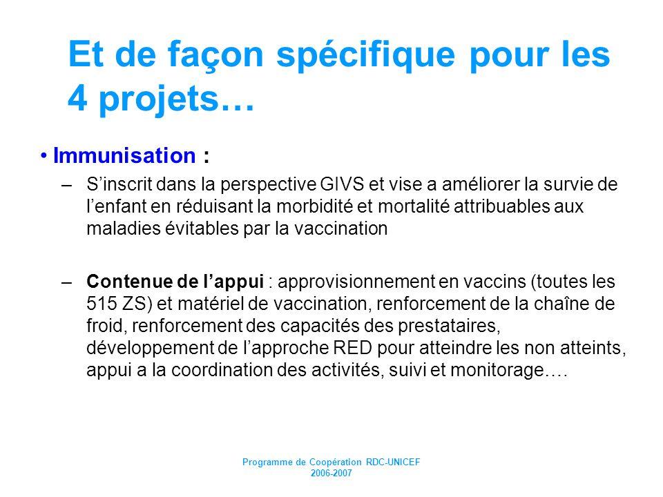 Programme de Coopération RDC-UNICEF 2006-2007 Et de façon spécifique pour les 4 projets… Immunisation : –Sinscrit dans la perspective GIVS et vise a a