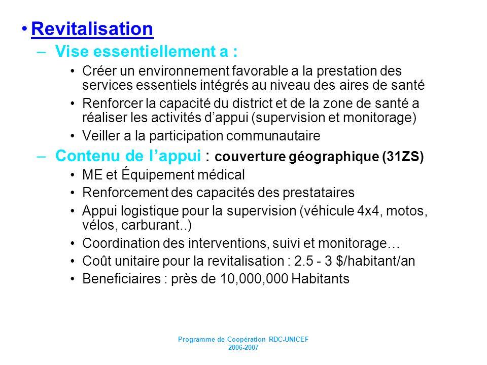 Programme de Coopération RDC-UNICEF 2006-2007 Revitalisation –Vise essentiellement a : Créer un environnement favorable a la prestation des services e
