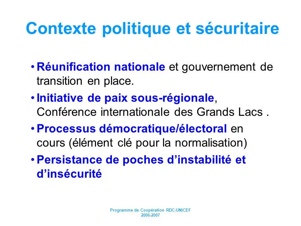 Programme de Coopération RDC-UNICEF 2006-2007 Contexte politique et sécuritaire Réunification nationale et gouvernement de transition en place. Initia