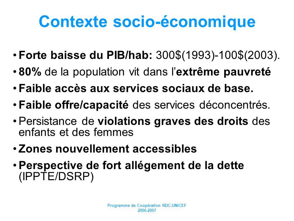 Programme de Coopération RDC-UNICEF 2006-2007 Résultats stratégiques pour 2006-2007 9.3 millions denfants de 6m-15ans sont vaccinés contre la rougeole en 2006 (et 3.5 millions de 9mois à 5ans en 2007) Le taux de couverture vaccinale en DTC3 est augmentée de 64 % en 2004 à 80 % en 2007; 11 millions denfants de 6-59 mois reçoivent deux doses de VitA et 3 millions dorment sous MI; 15.000 enfants et femmes victimes de violences sexuelles reçoivent une prise en charge adéquate et sont réinsérés; Les risques de transmission du VIH de la mère à lenfant sont réduits de 50% dans 190 sites