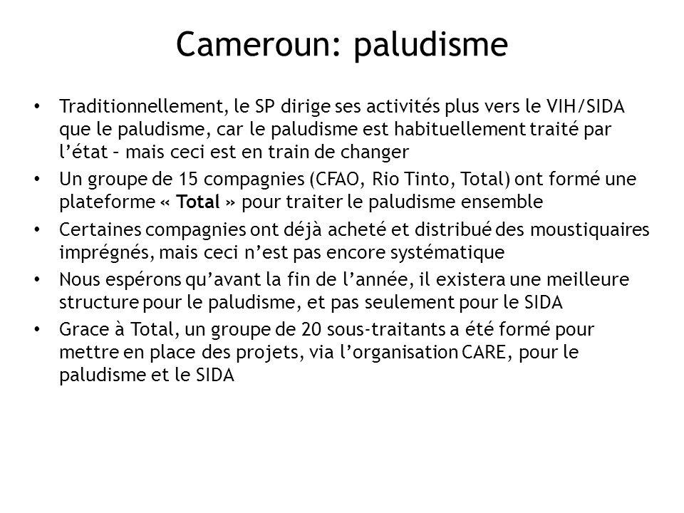 Cameroun: paludisme Traditionnellement, le SP dirige ses activités plus vers le VIH/SIDA que le paludisme, car le paludisme est habituellement traité par létat – mais ceci est en train de changer Un groupe de 15 compagnies (CFAO, Rio Tinto, Total) ont formé une plateforme « Total » pour traiter le paludisme ensemble Certaines compagnies ont déjà acheté et distribué des moustiquaires imprégnés, mais ceci nest pas encore systématique Nous espérons quavant la fin de lannée, il existera une meilleure structure pour le paludisme, et pas seulement pour le SIDA Grace à Total, un groupe de 20 sous-traitants a été formé pour mettre en place des projets, via lorganisation CARE, pour le paludisme et le SIDA