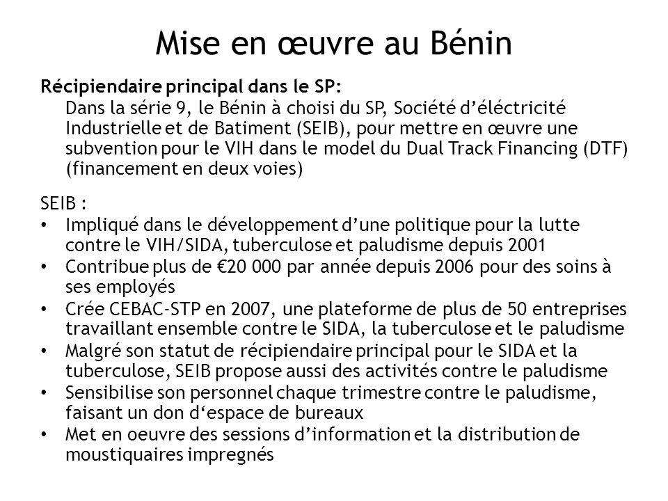 Mise en œuvre au Bénin Récipiendaire principal dans le SP: Dans la série 9, le Bénin à choisi du SP, Société déléctricité Industrielle et de Batiment (SEIB), pour mettre en œuvre une subvention pour le VIH dans le model du Dual Track Financing (DTF) (financement en deux voies) SEIB : Impliqué dans le développement dune politique pour la lutte contre le VIH/SIDA, tuberculose et paludisme depuis 2001 Contribue plus de 20 000 par année depuis 2006 pour des soins à ses employés Crée CEBAC-STP en 2007, une plateforme de plus de 50 entreprises travaillant ensemble contre le SIDA, la tuberculose et le paludisme Malgré son statut de récipiendaire principal pour le SIDA et la tuberculose, SEIB propose aussi des activités contre le paludisme Sensibilise son personnel chaque trimestre contre le paludisme, faisant un don despace de bureaux Met en oeuvre des sessions dinformation et la distribution de moustiquaires impregnés