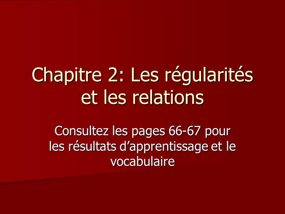 Chapitre 2: Les régularités et les relations Consultez les pages 66-67 pour les résultats dapprentissage et le vocabulaire