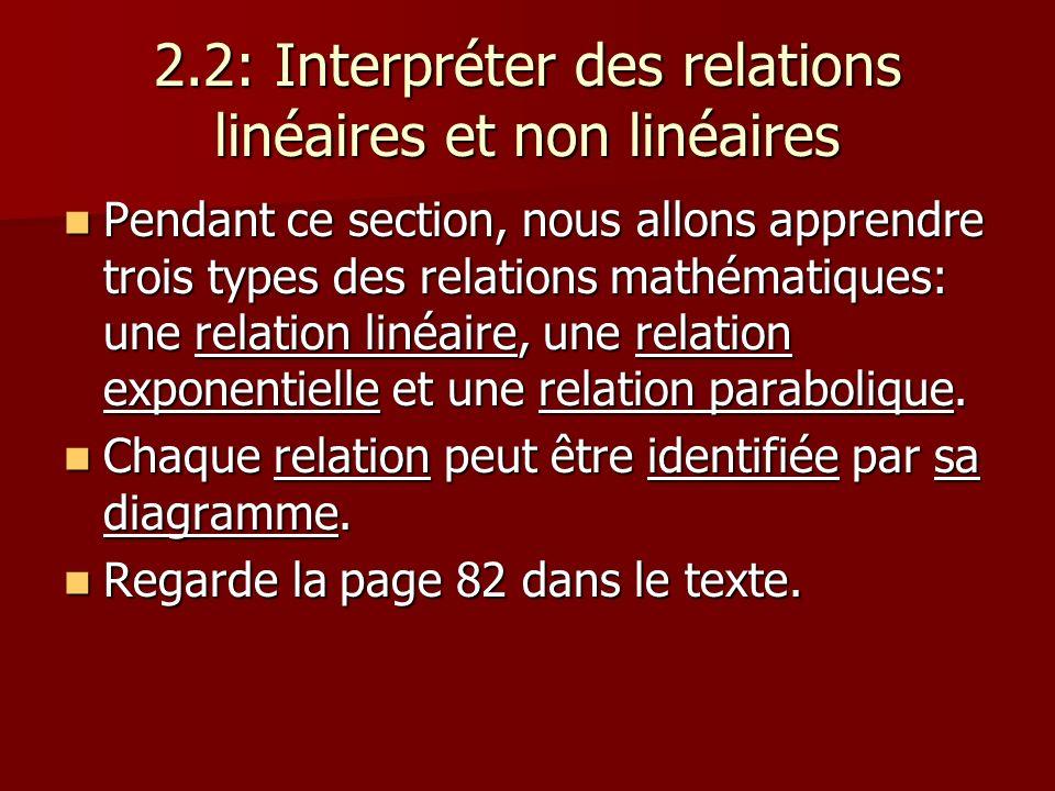 2.2: Interpréter des relations linéaires et non linéaires Pendant ce section, nous allons apprendre trois types des relations mathématiques: une relat