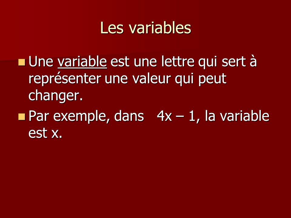 Les variables Une variable est une lettre qui sert à représenter une valeur qui peut changer. Une variable est une lettre qui sert à représenter une v