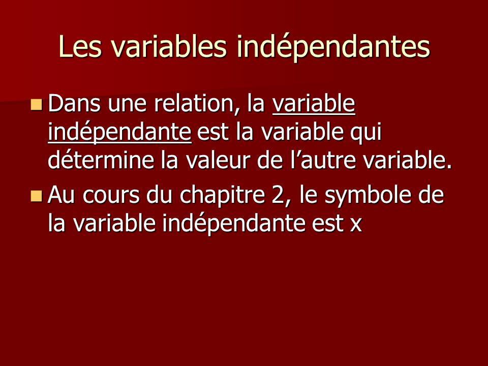 Les variables indépendantes Dans une relation, la variable indépendante est la variable qui détermine la valeur de lautre variable. Dans une relation,