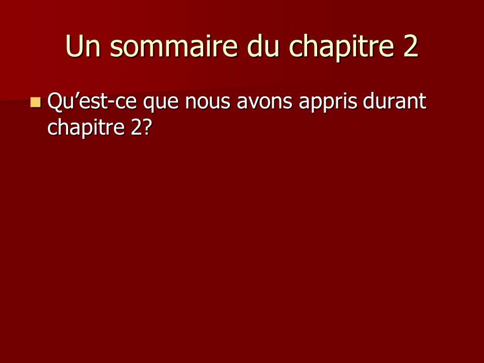 Un sommaire du chapitre 2 Quest-ce que nous avons appris durant chapitre 2? Quest-ce que nous avons appris durant chapitre 2?