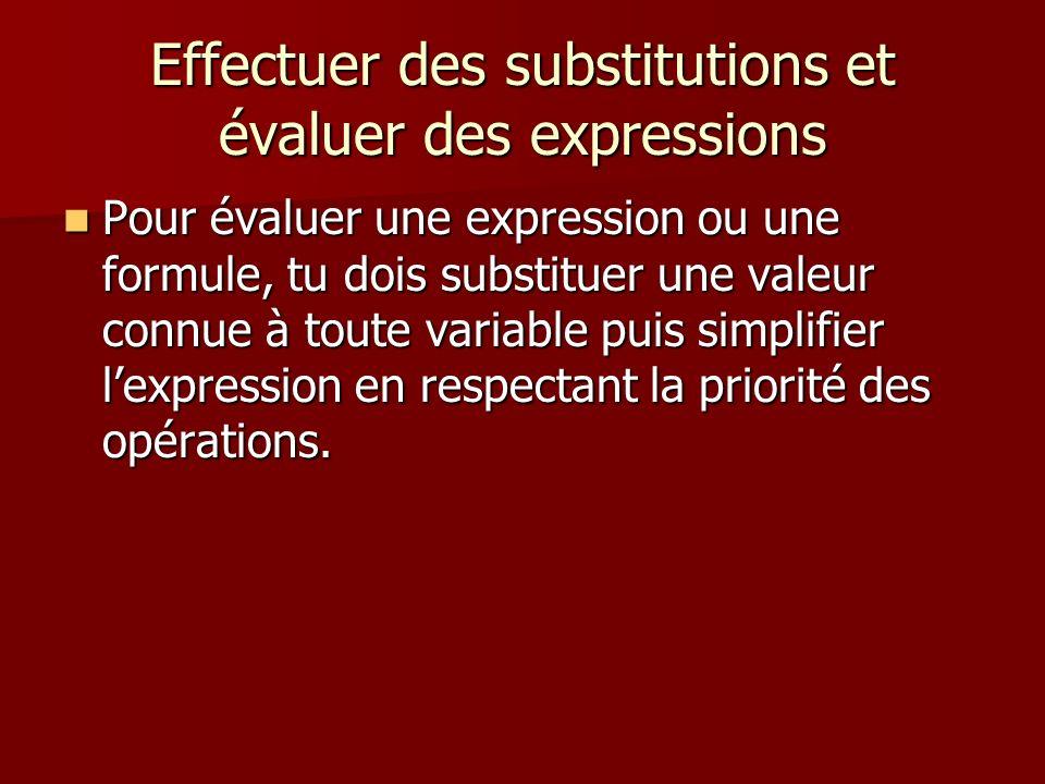 Effectuer des substitutions et évaluer des expressions Pour évaluer une expression ou une formule, tu dois substituer une valeur connue à toute variab