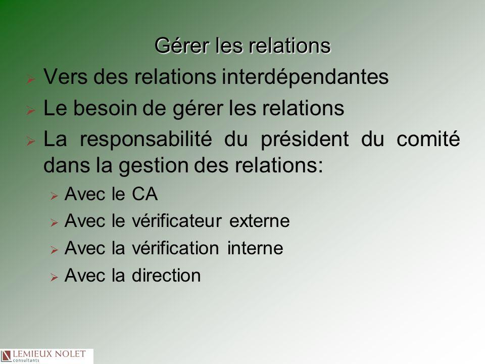 Gérer les relations Vers des relations interdépendantes Le besoin de gérer les relations La responsabilité du président du comité dans la gestion des