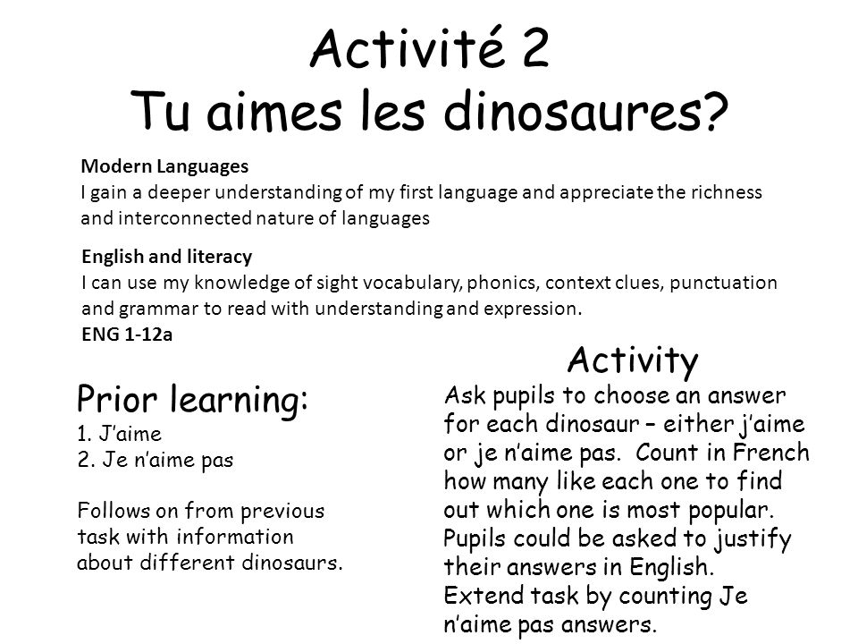 Activité 2 Tu aimes les dinosaures? Modern Languages I gain a deeper understanding of my first language and appreciate the richness and interconnected