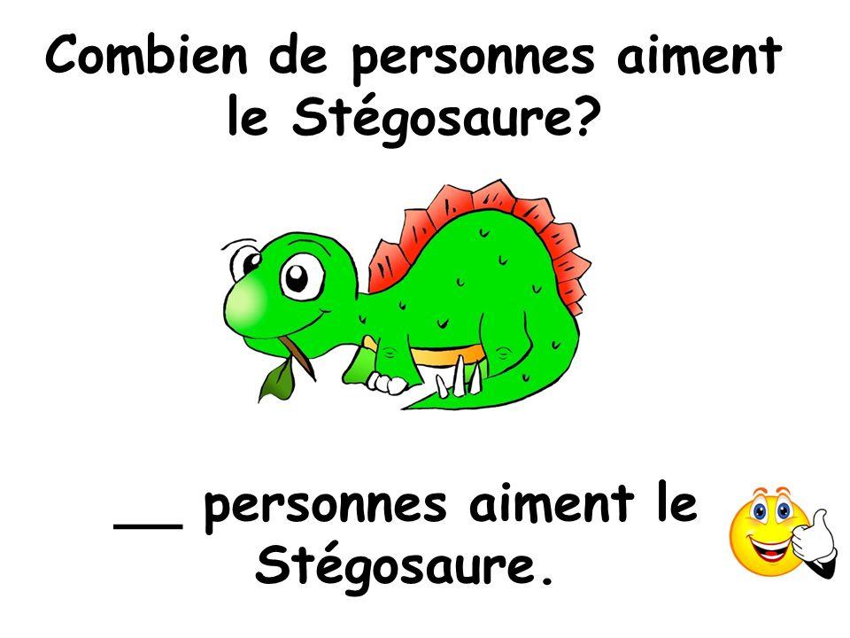Combien de personnes aiment le Stégosaure? __ personnes aiment le Stégosaure.