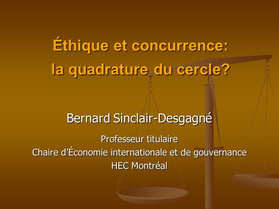 Éthique et concurrence: la quadrature du cercle.