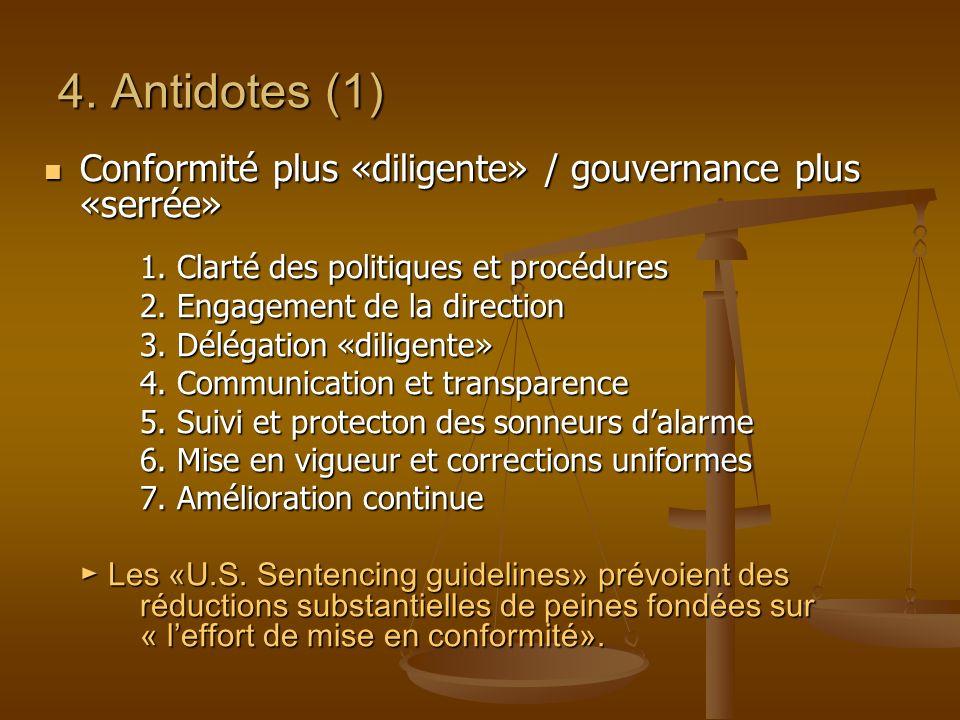 4. Antidotes (1) Conformité plus «diligente» / gouvernance plus «serrée» Conformité plus «diligente» / gouvernance plus «serrée» 1. Clarté des politiq