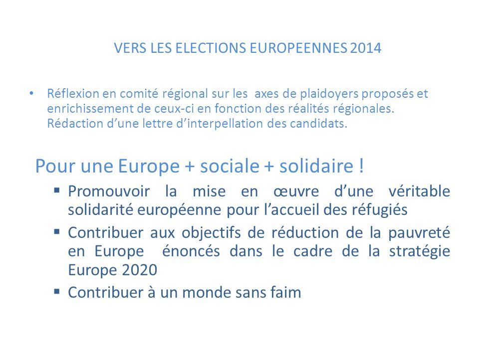 VERS LES ELECTIONS EUROPEENNES 2014 Réflexion en comité régional sur les axes de plaidoyers proposés et enrichissement de ceux-ci en fonction des réalités régionales.