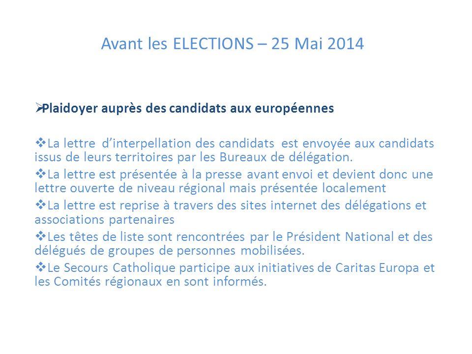 Avant les ELECTIONS – 25 Mai 2014 Plaidoyer auprès des candidats aux européennes La lettre dinterpellation des candidats est envoyée aux candidats issus de leurs territoires par les Bureaux de délégation.