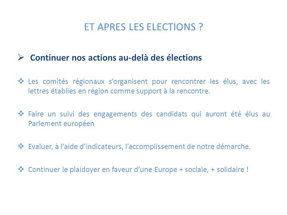 ET APRES LES ELECTIONS ? Continuer nos actions au-delà des élections Les comités régionaux sorganisent pour rencontrer les élus, avec les lettres étab