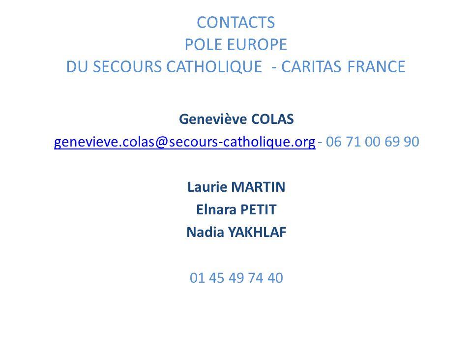 CONTACTS POLE EUROPE DU SECOURS CATHOLIQUE - CARITAS FRANCE Geneviève COLAS genevieve.colas@secours-catholique.orggenevieve.colas@secours-catholique.o