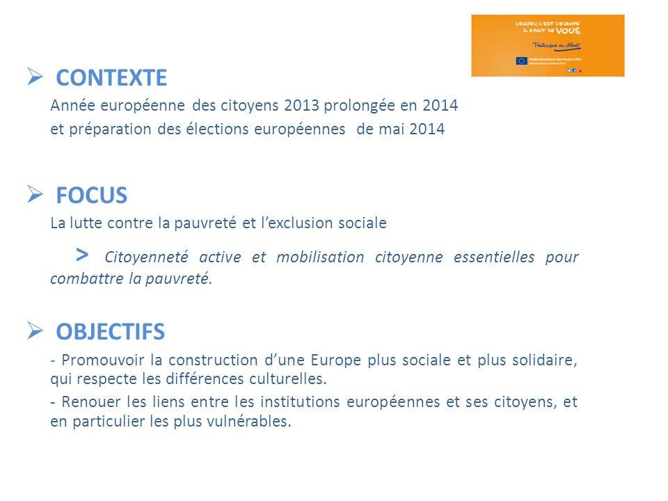 CONTEXTE Année européenne des citoyens 2013 prolongée en 2014 et préparation des élections européennes de mai 2014 FOCUS La lutte contre la pauvreté e