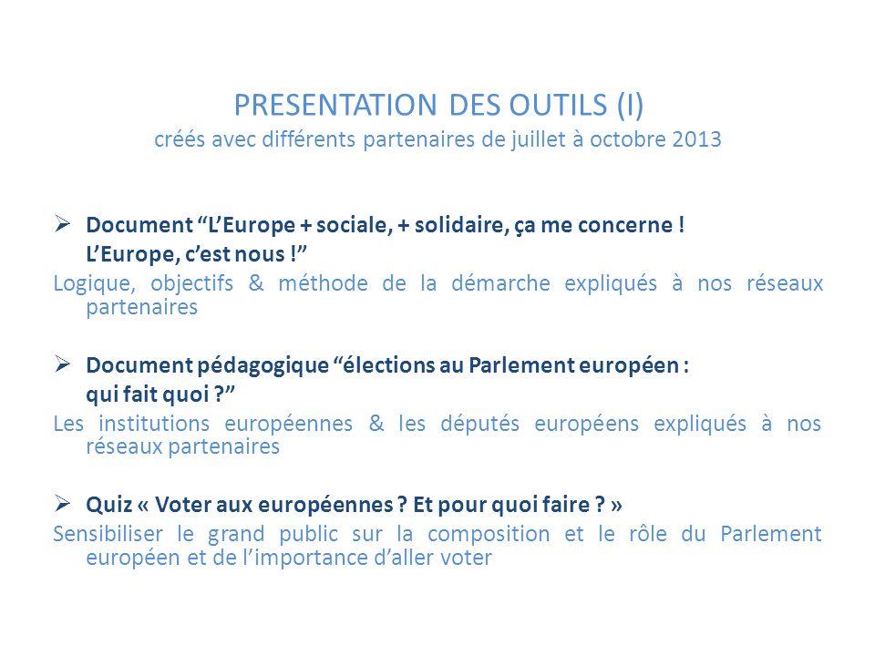 PRESENTATION DES OUTILS (I) créés avec différents partenaires de juillet à octobre 2013 Document LEurope + sociale, + solidaire, ça me concerne .