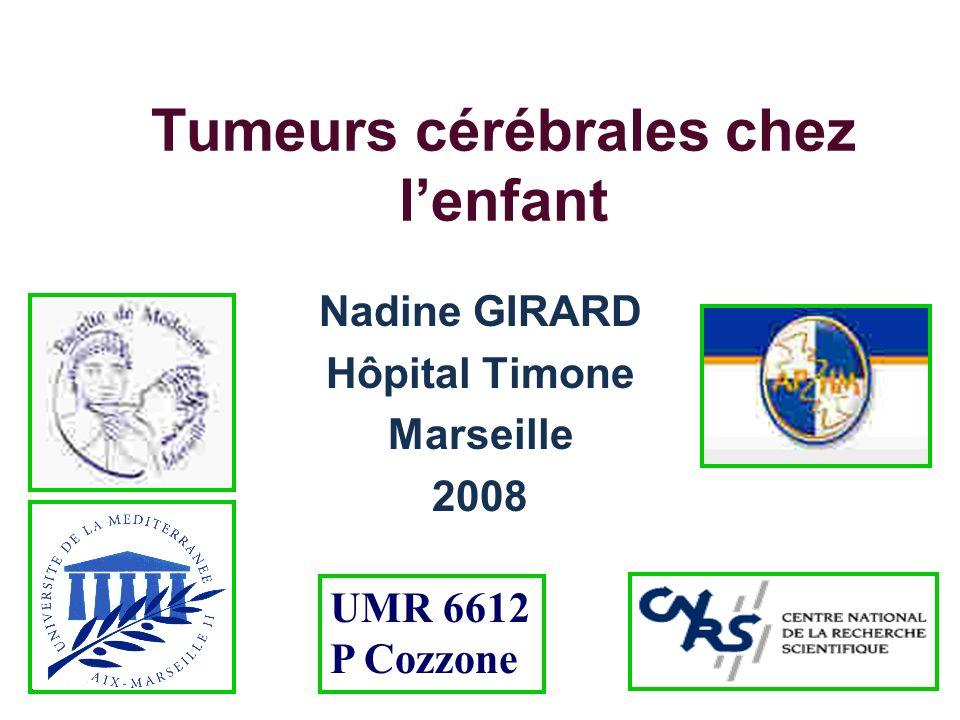 Introduction Population pédiatrique: 2ème cause de cancer de lenfant (après leucémie) TFP-sustentorielle=50-50 Nourrisson: prédominance sustentorielle (gliome VO, PNET, tumeurs des plexus choroïdes) Tumeur infratentorielle: 3-11 ans Incidence égale après 11 ans Répartition le long de la ligne médiane (85%) dans la fosse postérieure (50%) suprasellaire (30°%) pinéale hémisphérique (15%): épilepsie 9-15%